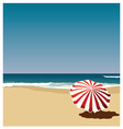 postcard red umbrella on the beach vector image
