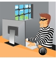 prisoner sitting in his prison cell vector image vector image