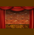 red curtains on brick wall background vector image