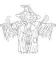 scarecrow for halloween with crows vector image vector image