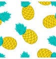 seamless background with pineapple on white vector image vector image