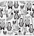 seamless pattern with animals and spring branches vector image
