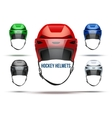 Set of Classic Ice Hockey Helmets with glass vector image vector image