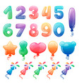 set of color cartoon numbers balloons and vector image