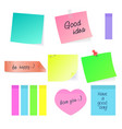 set paper sticky stickers vector image