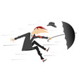 strong wind and man with hat and umbrella vector image vector image