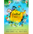summer cocktail party poster design cocktail menu vector image