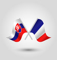 two crossed slovak and french flags vector image vector image