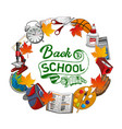 welcome back to school frame stationery items vector image vector image