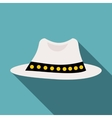 White hat icon flat style vector image vector image