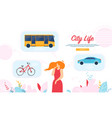 woman decide what transport to choose in city vector image