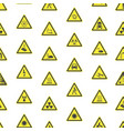 yellow warning hazard signs seamless pattern vector image