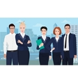 Business team formed of young businessman standing vector image