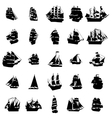 Sailing ship silhouette set vector image