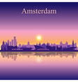 Amsterdam silhouette on sunset background vector image vector image