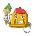 artist construction helmet character cartoon vector image