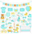bashower boy set blue elements for party vector image