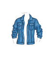 blue denim jacket with pockets jean shirt vector image