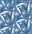blue jungle leaves pattern for summer seamless vector image