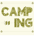 Camping Lettering Travel Postcard in outline style vector image