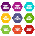 chinese icon set color hexahedron vector image vector image