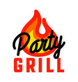 color vintage grill party emblem vector image