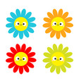 colorful daisy chamomile set with smiling face vector image