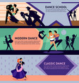 colorful dancing people horizontal banners vector image vector image