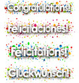 congratulations banner with colorful confetti vector image vector image
