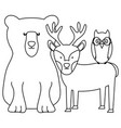 cute bear grizzly with reindeer and owl vector image vector image