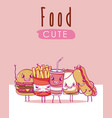 cute food kawaii cartoons vector image