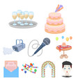 event service set icons in cartoon style big vector image