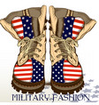 fashion hand drawn boots in military style vector image vector image