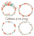 floral frame collection set cute retro flowers vector image vector image