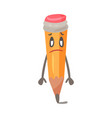 frustrated cartoon humanized pencil with sad eyes vector image vector image
