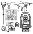 geodetic equipment hand drawn vector image vector image