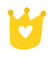 gold crown royalty cartoon isolated icon design vector image