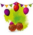 gulal powder color balloons and garland decoration vector image vector image
