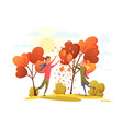 happy people in an autumn park trend colors vector image vector image
