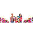 happy three generations women holding bouquet of vector image vector image
