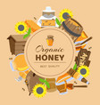 honey cartoon colored frame with sunflower cask vector image