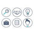 magnifying glass and handshake icons set vector image vector image