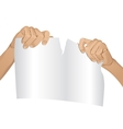 Man hands tear paper version 1 vector image vector image