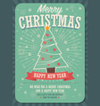 merry christmas card with christmas tree and gift vector image vector image