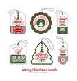 merry christmas label collections design vector image vector image