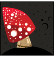 Night background with red Mushroom vector image