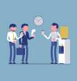 office cooler chat young male workers vector image