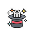 rabbit in magic cylinder hat circus flat color vector image vector image