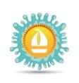 sailing summer vacation sun splashes label vector image vector image