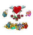 set boxes with gifts and basket with winged heart vector image vector image
